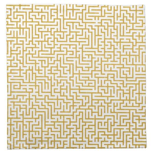 Elegant Maze Modern Art - Gold & White Napkin