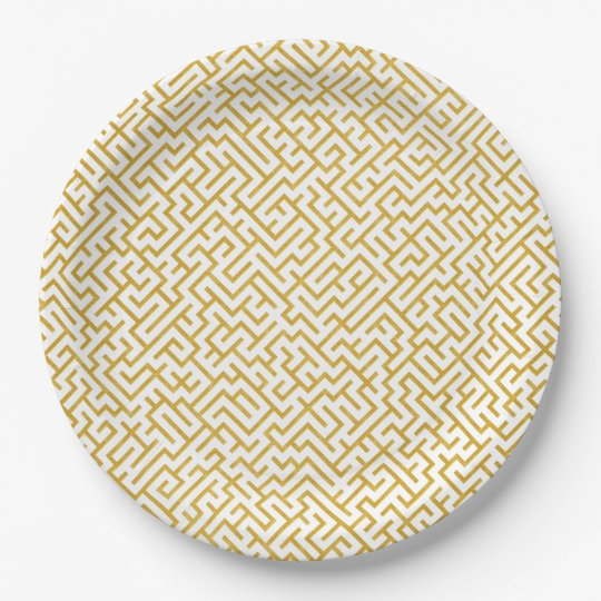 Elegant Maze Modern Art - Gold & White Paper Plate