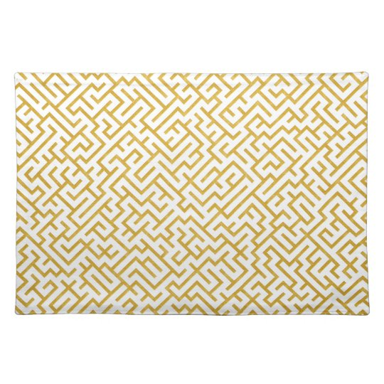 Elegant Maze Modern Art - Gold & White Placemat