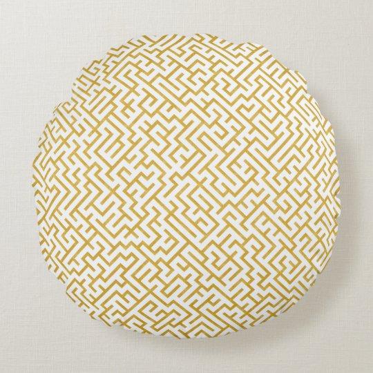 Elegant Maze Modern Art - Gold & White Round Cushion