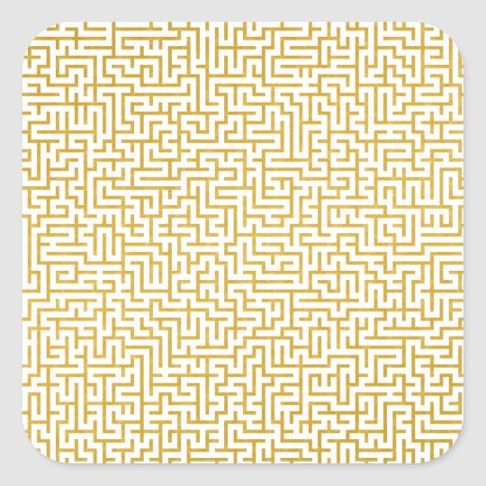 Elegant Maze Modern Art - Gold & White Square Sticker