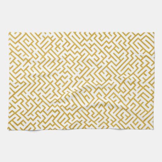 Elegant Maze Modern Art - Gold & White Tea Towel