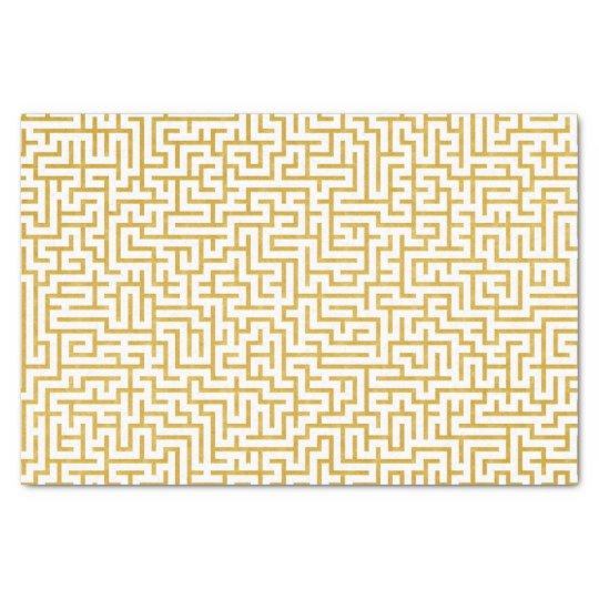 Elegant Maze Modern Art - Gold & White Tissue Paper