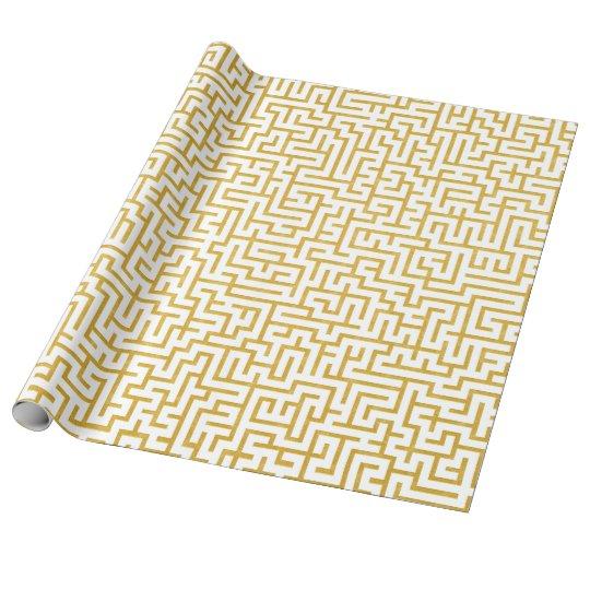 Elegant Maze Modern Art - Gold & White Wrapping Paper