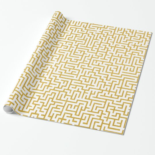 Elegant Maze Modern Art - Gold & White Wrapping Paper
