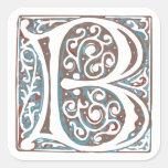 Elegant Mediaeval Letter B Antique Monogram Square Stickers