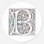Elegant Mediaeval Letter B Antique Monogram Round Stickers