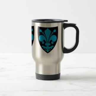 Elegant medieval fleur de lis in blue stainless steel travel mug