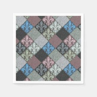 Elegant Medieval Fleur de Lys Pattern Paper Napkins