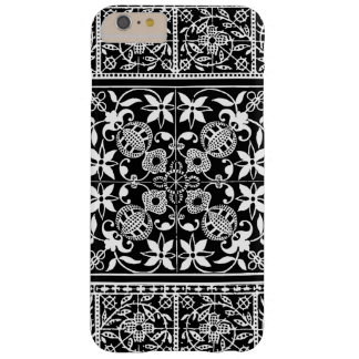 Elegant Medieval French Lace Black and White Barely There iPhone 6 Plus Case