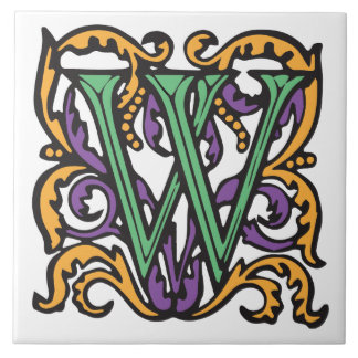 Elegant Medieval Green Letter W Monogram Large Square Tile