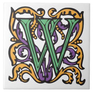 Elegant Medieval Green Letter W Monogram Tile
