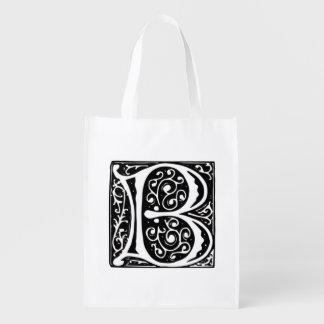 Elegant Medieval or Renaissance letter B Monogram Reusable Grocery Bag