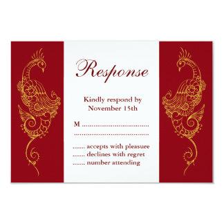 Elegant Mehndi Peacock Wedding RSVP - Red & White Card