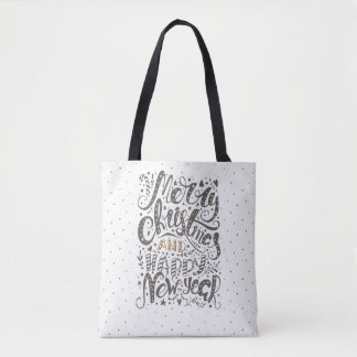 Elegant Merry Christmas Typography Tote Bag