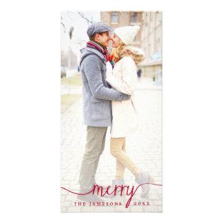 Elegant Merry White Overlay Holiday Photo Card