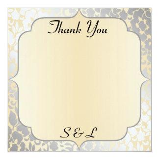 Elegant Metallic Beige Thank You Card / Note 13 Cm X 13 Cm Square Invitation Card