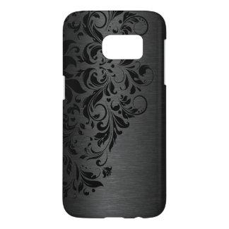Elegant Metallic Black Texture Floral Black Lace