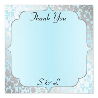 Elegant Metallic Blue Thank You Card / Note 13 Cm X 13 Cm Square Invitation Card