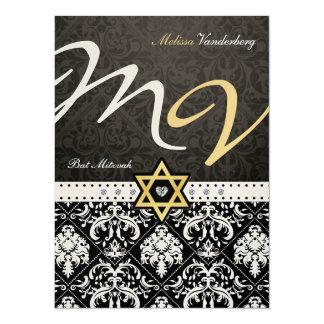 Elegant Metallic Gold Damask Bat Mitzvah 5.5x7.5 Paper Invitation Card