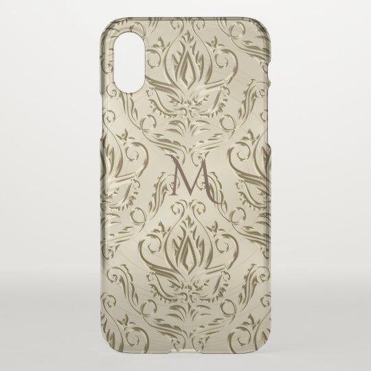 Elegant Metallic Gold Damask Monogram iPhone X Case