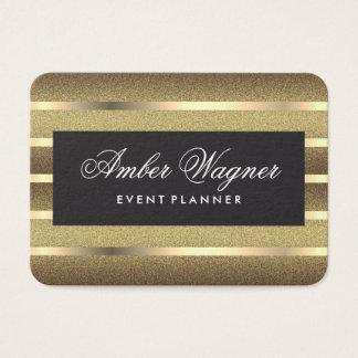 Elegant Metallic Gold Stripes Gold Background Business Card