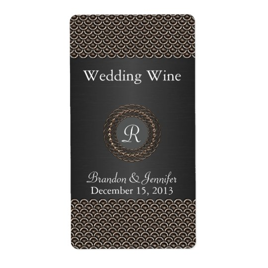 Elegant Metallic Look Wedding Mini Wine Labels