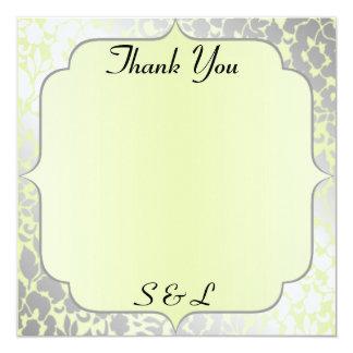 Elegant Metallic Pistachio Thank You Card / Note 13 Cm X 13 Cm Square Invitation Card