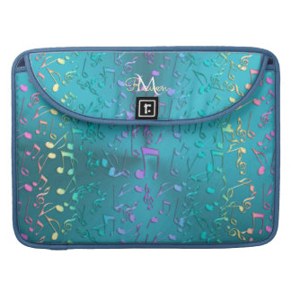 Elegant Metallic Turquoise with Music Notes Sleeve For MacBook Pro