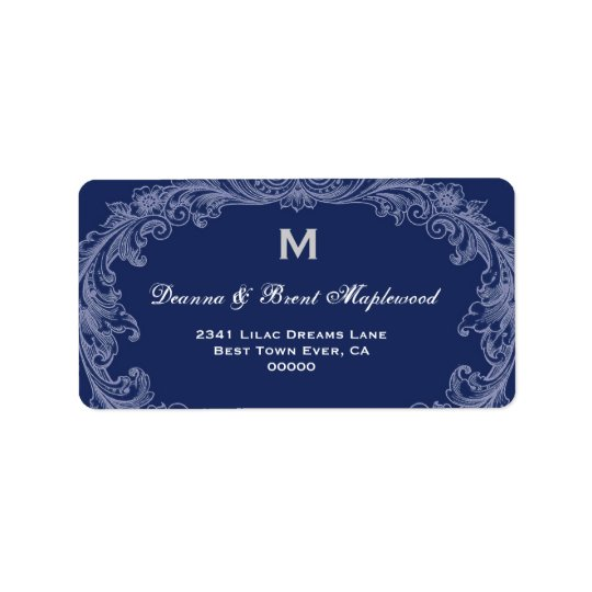 Elegant Midnight Vintage Monogram B454 Address Label