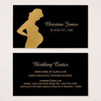 Elegant Midwife Black and Faux Gold Pregnant Woman Business Card