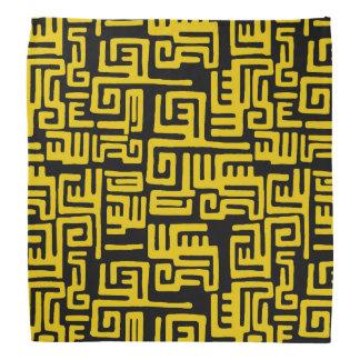Elegant Minimal African Tribal Pattern Yellow Line Bandana
