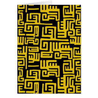 Elegant Minimal African Tribal Pattern Yellow Line Card