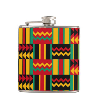 Elegant Minimal African Tribal Pattern Yellow Line Hip Flask