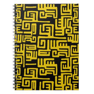 Elegant Minimal African Tribal Pattern Yellow Line Notebooks
