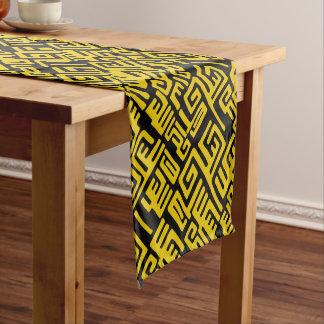 Elegant Minimal African Tribal Pattern Yellow Line Short Table Runner