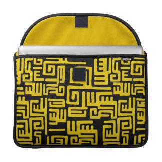 Elegant Minimal African Tribal Pattern Yellow Line Sleeve For MacBooks