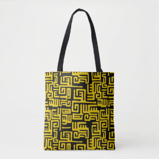 Elegant Minimal African Tribal Pattern Yellow Line Tote Bag