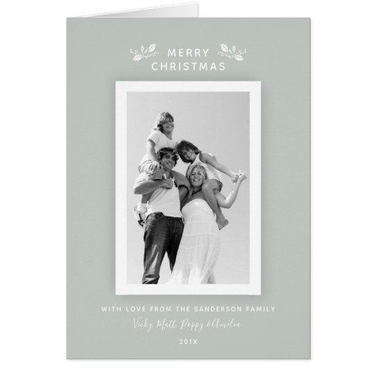 Elegant Minimal Grey Green + White Christmas Photo Card