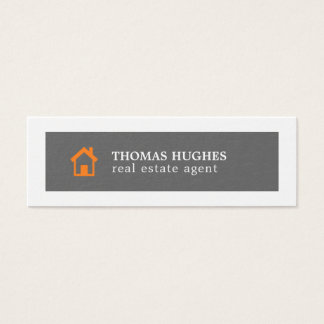 Elegant Minimal Grey Orange Agent Mini Business Card