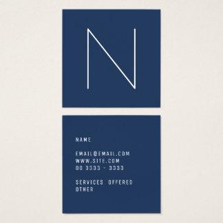 Elegant Minimal Plain Navy Peony Fashion Square Business Card
