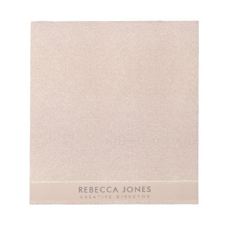 ELEGANT MINIMAL ROSE GOLD SHIMMER PERSONALIZED NOTEPAD