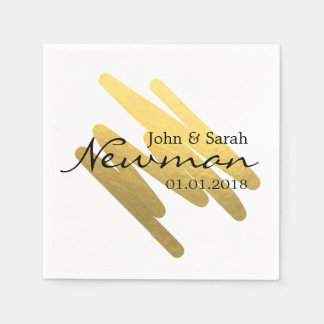 elegant minimalist abstract gold foil wedding disposable napkin