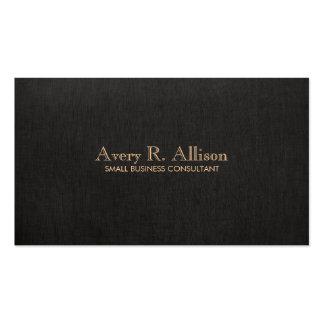 Elegant Minimalist Black Linen Look Professional Business Card Template