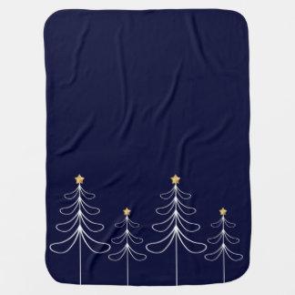 Elegant minimalist Christmas tree design blue Baby Blanket