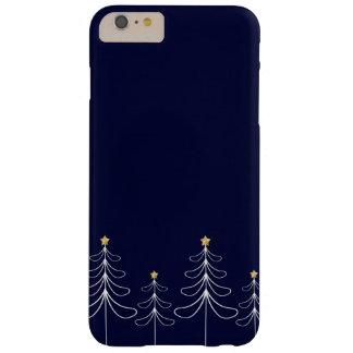 Elegant minimalist Christmas tree design blue Barely There iPhone 6 Plus Case