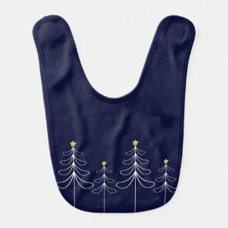 Elegant minimalist Christmas tree design blue Bib