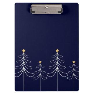 Elegant minimalist Christmas tree design blue Clipboard