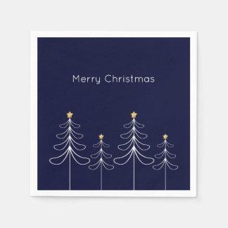 Elegant minimalist Christmas tree design blue Disposable Napkin