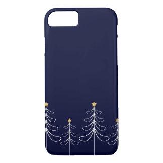 Elegant minimalist Christmas tree design blue iPhone 8/7 Case